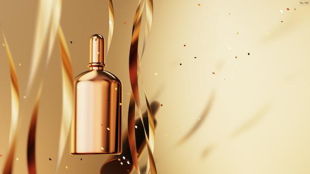Luksusowy produkt ze złotą wstążką na złotym tle. Premium Psd
