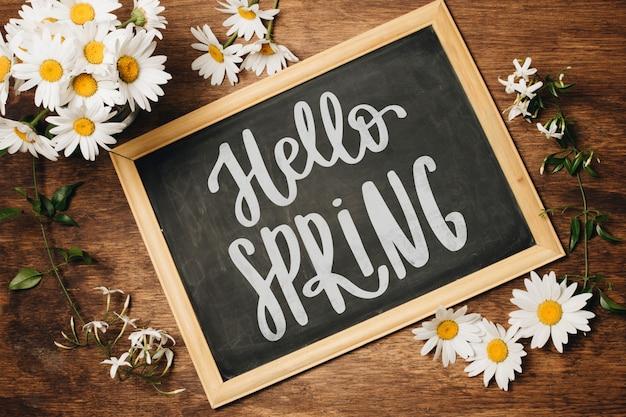 Łupek Szablon Na Wiosnę Z Kwiatami Darmowe Psd