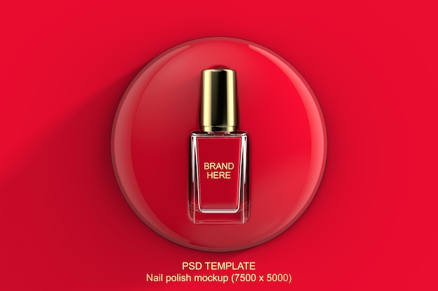 Makieta 3d czerwony lub różowy lakier do paznokci Premium Psd