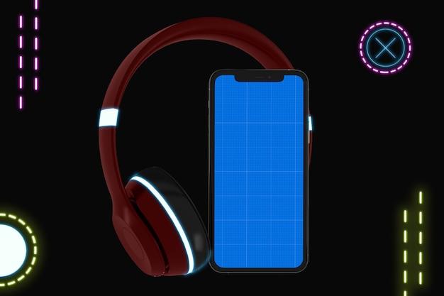 Makieta Aplikacji Neon Mobile Music Premium Psd