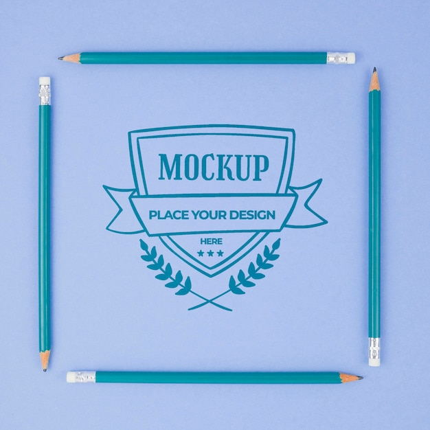 Makieta Biznesowa Kwadratowych Niebieskich Ołówków Premium Psd