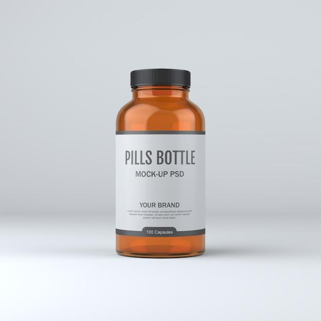 Makieta Butelki Pigułki Medycyny Premium Psd