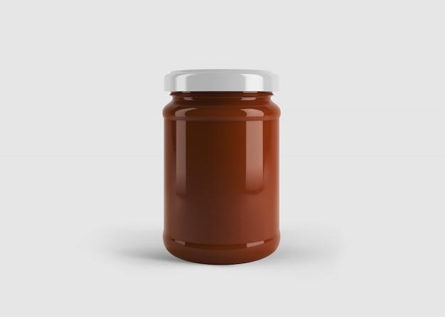 Makieta Czerwonego Dżemu Lub Słoika Z Sosem Z Niestandardową Etykietą Kształtu W Czystej Scenie Studyjnej Premium Psd