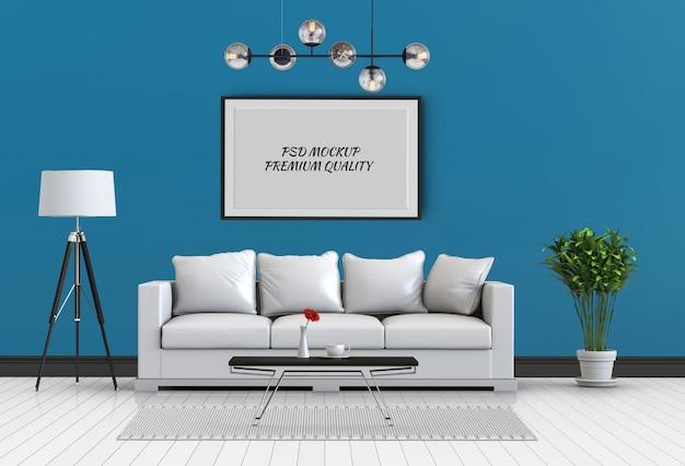 Makieta do ramki plakatowej w wewnętrznym salonie i sofie, renderowanie 3d Premium Psd
