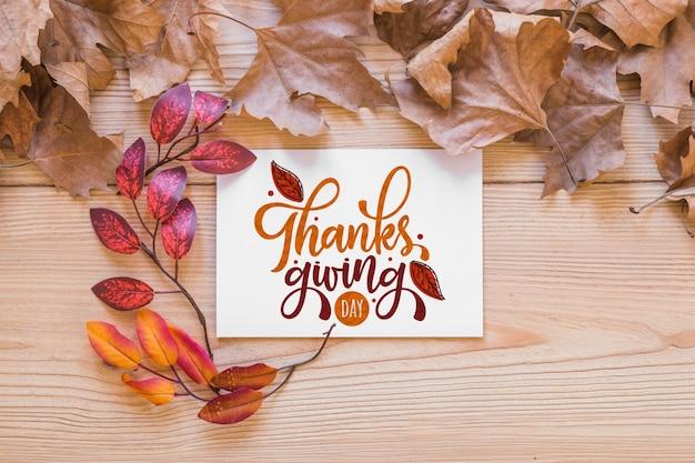 Makieta dziękczynienia z życzeniami Darmowe Psd