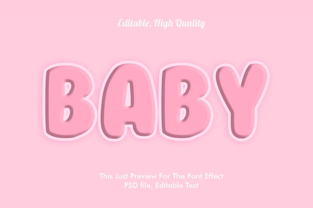 Makieta efekt różowy czcionki dziecka Premium Psd