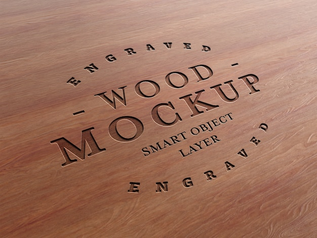 Makieta efektu grawerowanego drewna Premium Psd