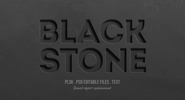 Makieta efektu kamienia czarny tekst 3d styl Premium Psd