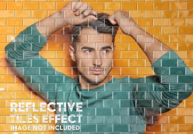 Makieta Efektu Odblaskowej ściany Wyłożonej Kafelkami Premium Psd