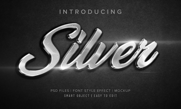 Makieta Efektu Stylu Czcionki 3d Silver Premium Psd
