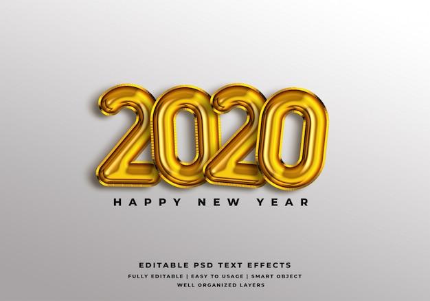 Makieta efektu stylu tekstu szczęśliwego nowego roku 2020 Premium Psd