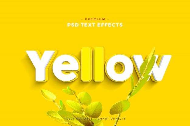 Makieta Efektu żółtego Tekstu Premium Psd
