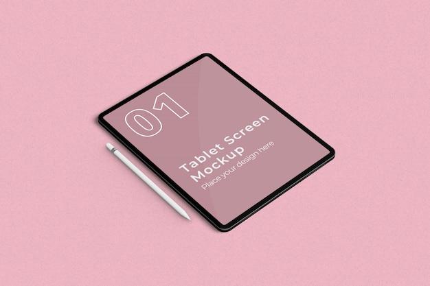 Makieta Ekranu Tabletu I Ołówek Lewy Kąt Widzenia Premium Psd