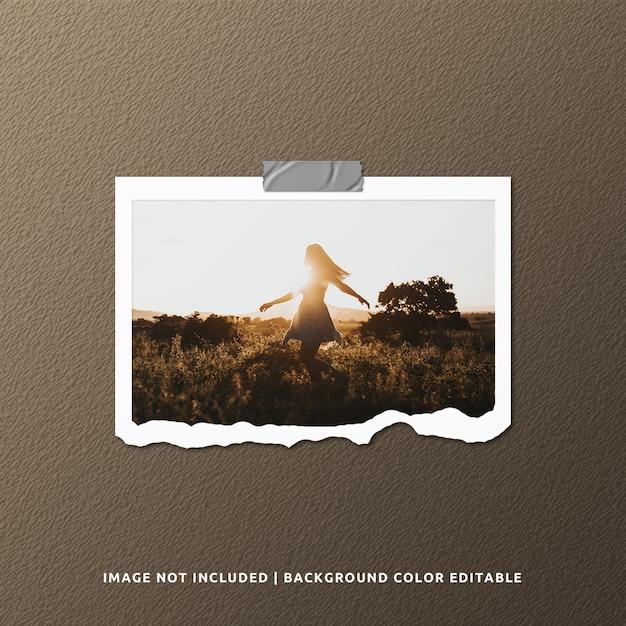 Makieta Fotografii W Ramce Z Rozdartym Papierem Premium Psd
