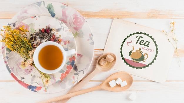 Makieta Herbaty Z Widokiem Z Góry Na śniadanie Darmowe Psd