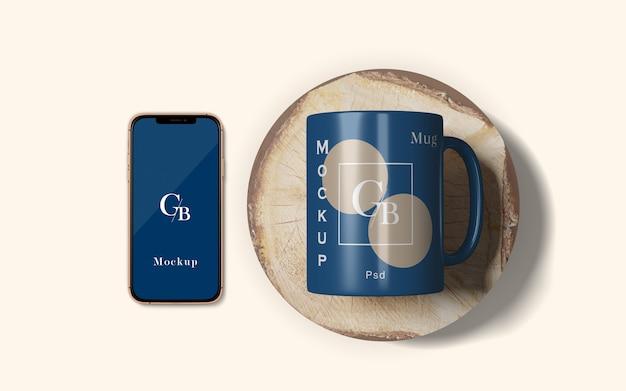 Makieta I Smartfon Kąt Górny Premium Psd