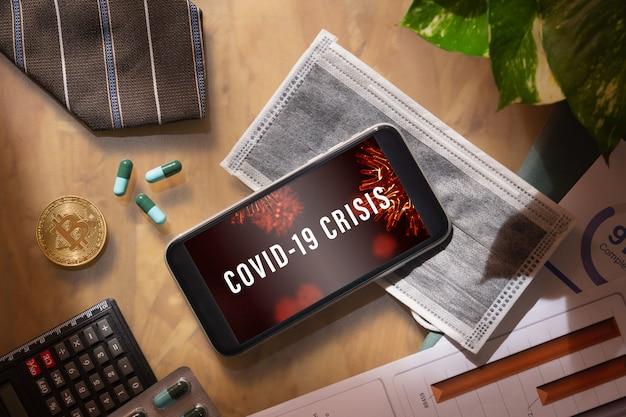 Makieta Inteligentny Telefon Dla Biznesu I Gospodarki Covid-19 Premium Psd