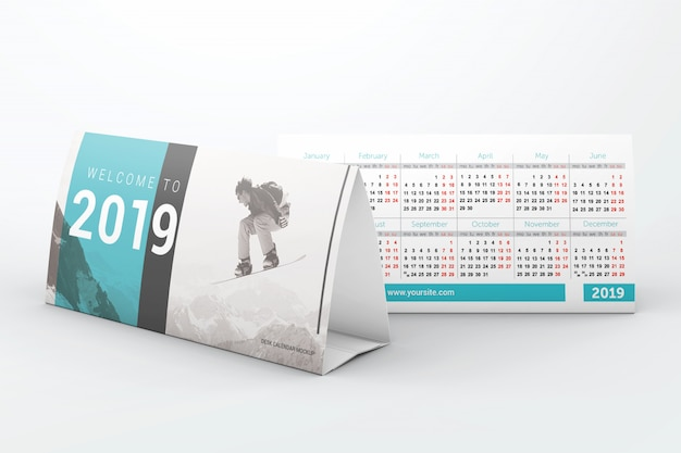 Makieta kalendarzy biurka biznesowego Premium Psd