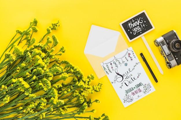 Makieta Karty Z Kwiatów Dekoracji Na ślub Lub Cytat Pliki Psd