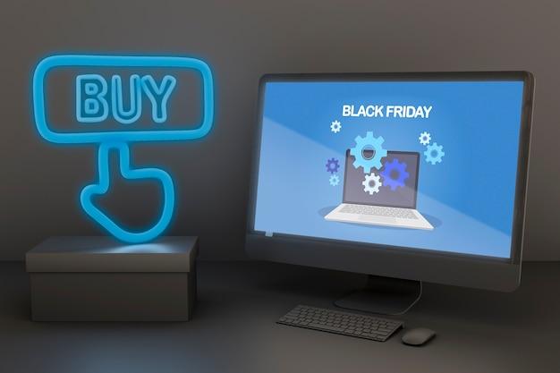 Makieta Komputerowa Z Niebieskimi Neonami Darmowe Psd