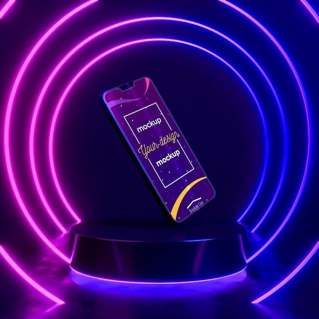 Makieta Koncepcji Urządzenia Neonowego Darmowe Psd