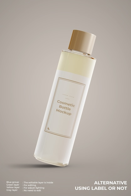 Makieta Kosmetycznej Szklanej Butelki Wygląda Z Przodu Darmowe Psd