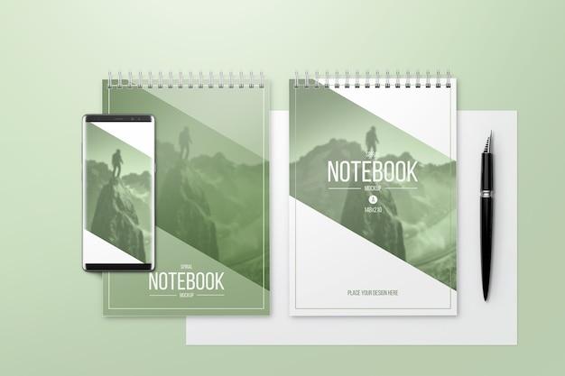 Makieta kreatywnych notebooków Premium Psd