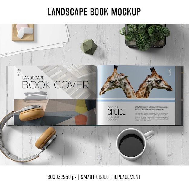Makieta książki lanscape Darmowe Psd