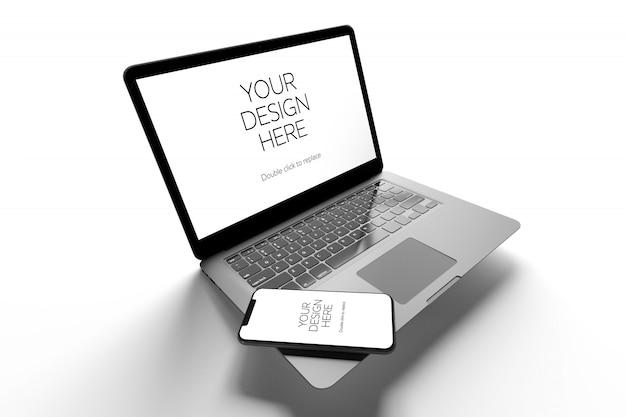 Makieta Laptopa I Smartfona, Widok Perspektywiczny Premium Psd