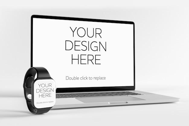 Makieta Laptopa I Smartwatch, Widok Perspektywiczny Premium Psd
