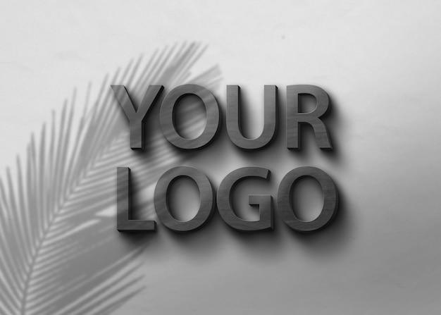 Makieta Logo Z Czarnego Drewna Premium Psd