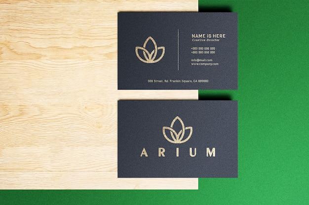 Makieta Luksusowego Logo Na Czarnej Wizytówce Premium Psd