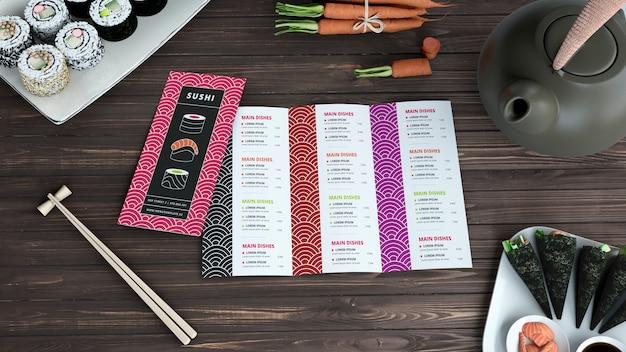 Makieta menu kreatywnych sushi bar Darmowe Psd