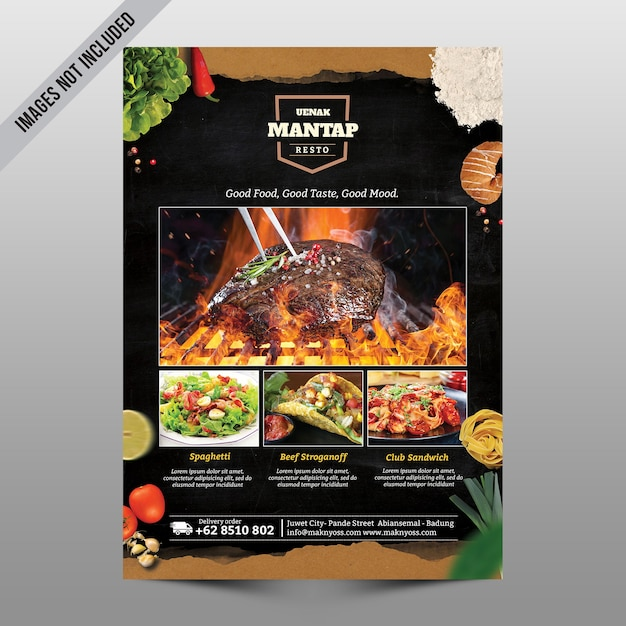 Makieta menu restauracji Premium Psd