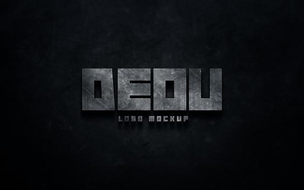 Makieta Metalicznego Logo Na Szablonie Efektu Tekstowego ściany Betonowej Premium Psd