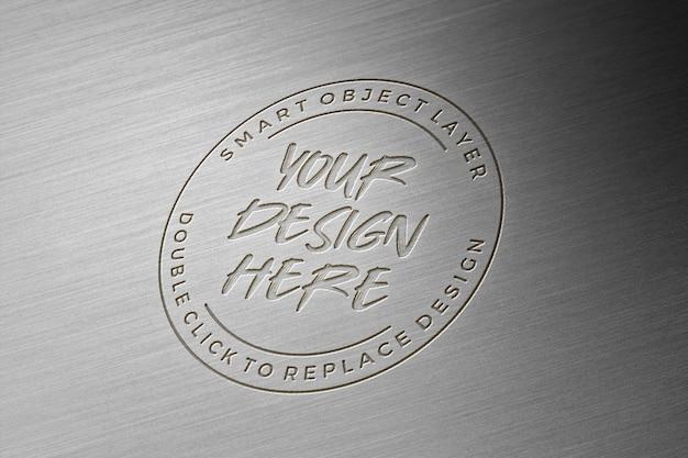 Makieta Metalowa 3d Logo Premium Psd