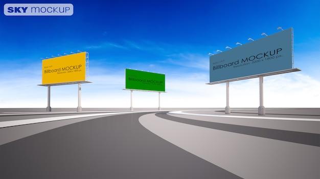Makieta Obraz 3d Renderowania Billboard Obok Autostrady. Premium Psd