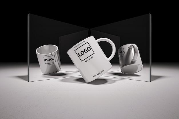 Makieta Obraz Renderowania 3d Białej Filiżanki Kawy Premium Psd