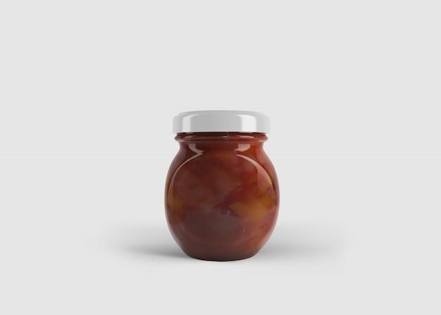 Makieta Okrągłego Dżemu Lub Słoika Z Sosem Z Niestandardową Etykietą W Czystej Scenie Studyjnej Premium Psd