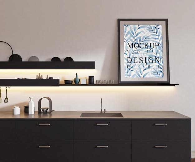 Makieta Plakat W Nowoczesnej Otwartej Kuchni Premium Psd