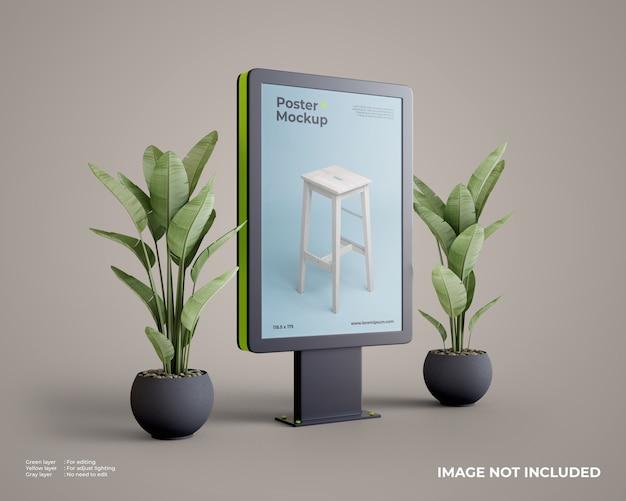 Makieta Plakatu Citylight Z Rośliną Na Boku Premium Psd