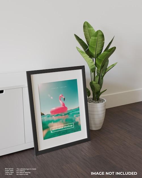 Makieta Plakatu W Ramie Sztuki Oparta O Białą Szafkę Premium Psd
