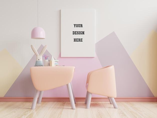 Makieta Plakatu W Sypialni Dziecięcej W Pastelowych Kolorach Na Pustej ścianie W Pastelowych Kolorach Premium Psd