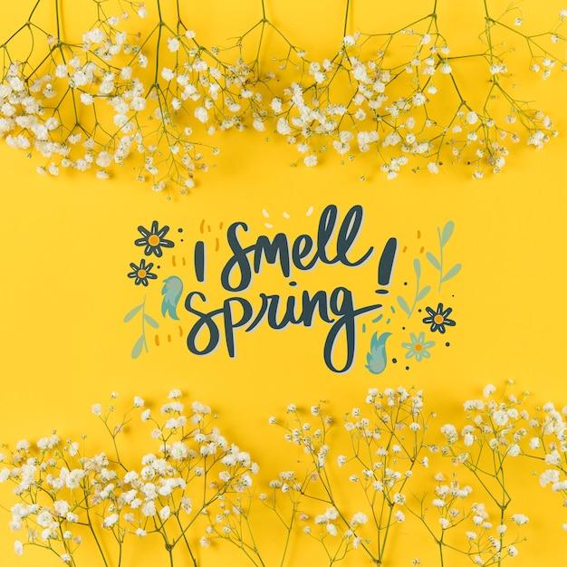 Makieta Płaski świeckich Wiosna Z Copyspace I Ramki Darmowe Psd