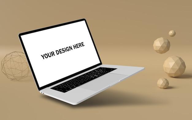 Makieta Pływającego Laptopa Z Popowym Tłem Darmowe Psd Premium Psd