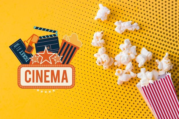 Makieta Popcornu I Kina Leżała Płasko Darmowe Psd