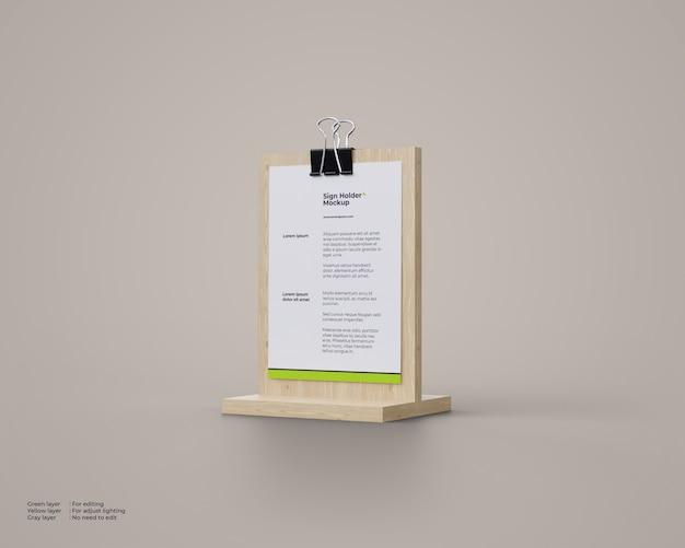 Makieta Posiadaczy Znaku Drewna Premium Psd