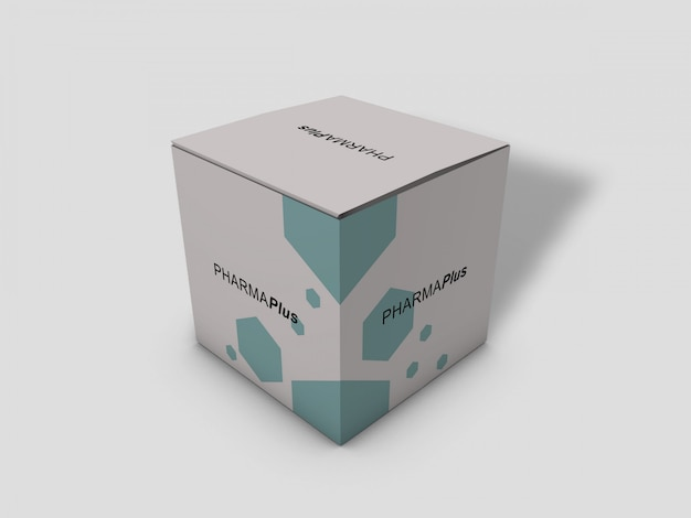 Makieta Pudełko Kartonowe Długi Kwadrat Pakiet Na Jasnoszarym Tle Premium Psd