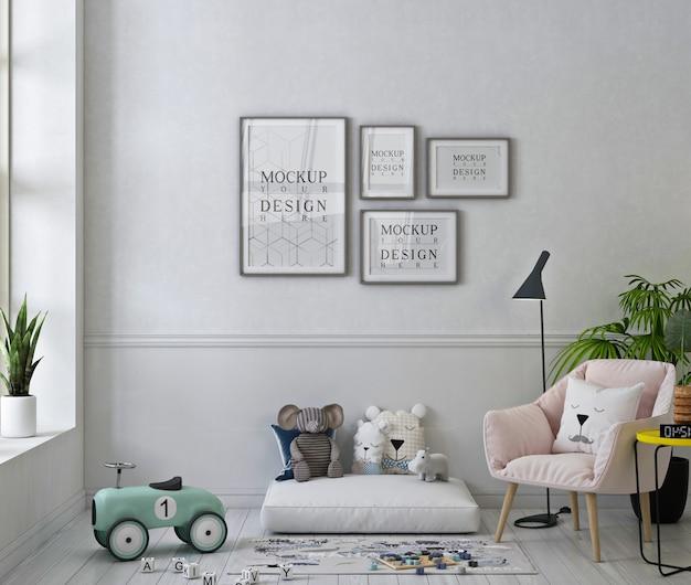 Makieta Ramek Na Zdjęcia W Uroczym Pokoju Zabaw Z Pastelowym Różowym Fotelem I Zabawkami Premium Psd