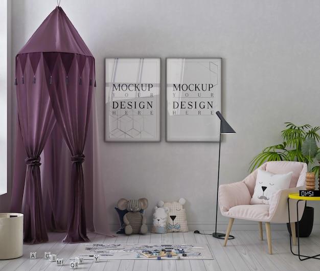 Makieta Ramek Plakatowych W Uroczym Pokoju Zabaw Z Różowym Fotelem Premium Psd